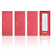 Collection of four red doors, one open and the others closed. Vector design. — Stock Vector