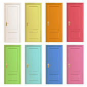 Collection of colorful doors. Vector design. — Stock Vector