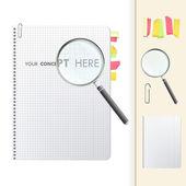 Förstoringsglas på anteckningsboken. — Stockvektor