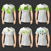 Collection of shirts with ecologics icons. Realistic vector design. — Stock Vector