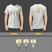 Kids with multiple emotions in a shirt. Realistic vector illustration. — Stock Vector