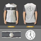 Shirt design with an illustration of a clock. Realistic vector design. — Stock Vector
