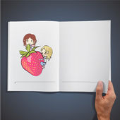 Two girls playing with a nice strawberry inside a book. Vector design. — Stock Vector