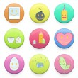 Collection of colorful badges with concept icon inside. Vector d — Stock Vector