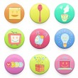 Collection of colorful badges with concept icon inside. Vector d - Stockvectorbeeld