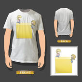 Yellow Post-it printed on white shirt. Vector illustration. — Stock Vector