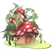 Mushroom house on white background. Vector illustration. — Stock Vector