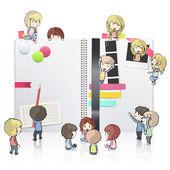 孩子们打开白色笔记本使用里面的几个元素。矢量设计. — 图库矢量图片