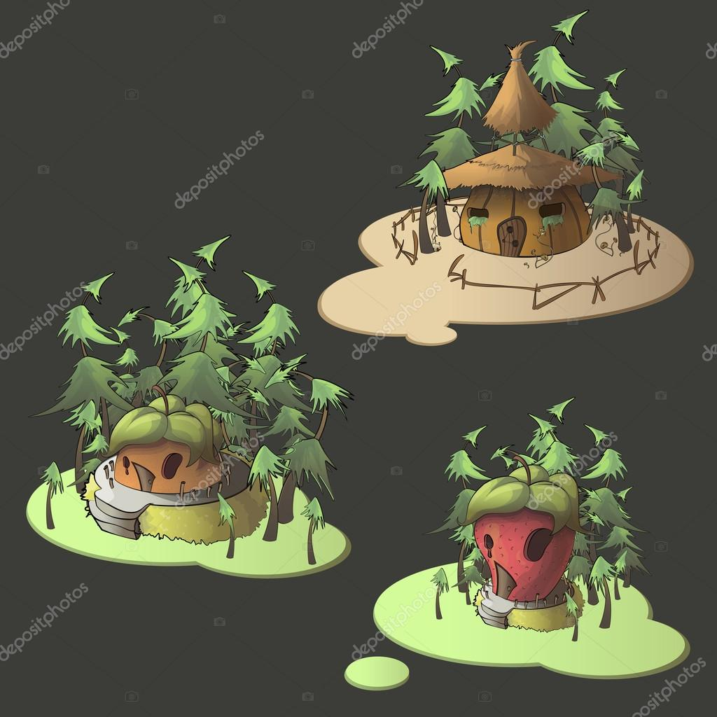 水果房子孤立的背景上.矢量插画