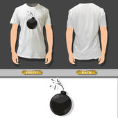 Bomb inside a shirt. Vector design. — Stock Vector