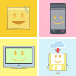 Set of cute icons. Postit, phone, tv, and diskette - Stock Vector