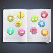 Collection de badges colorés avec l'icône de la notion à l'intérieur d'un livre. conception de vecteur. — Vecteur