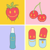 Set of cute icons. Strawberry, bottle, pill, and fruit. — Stock Vector