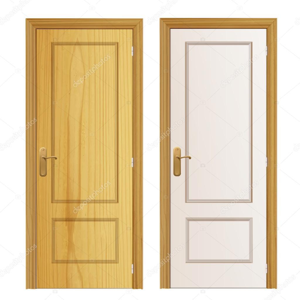 Wood Door Elevation : Wood door on isolated background vector design — stock