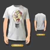 Many children inside a bulb on a white shirt. Vector illustration. — Stock Vector