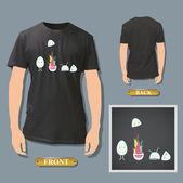 Ovos bonitos impresso na camisa branca. vector design. — Vetorial Stock