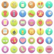 Collection of colorful badges with concept icon inside. Vector design.  — Stock Vector