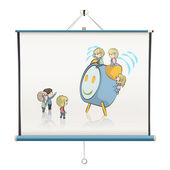 Alarm with kids inside a projector screen. Vector design — Stock Vector
