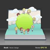 Beaucoup d'enfants autour d'un bouton web sur livre. conception de vecteur. — Vecteur