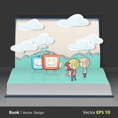 Niños viendo la tele en libro. diseño vectorial. — Vector de stock