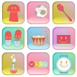 Collection of icons on colorful buttons. — Imagens vectoriais em stock