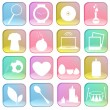 Collection of icons on colorful buttons. — Stock Vector