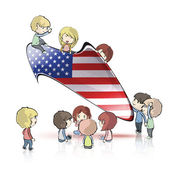 Kids holding american speech bubble on white isolated background. Vector design. — Stock Vector