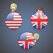 Kids holding English icon. Vector design. — Stock Vector