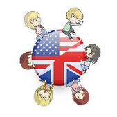 Kids holding English icon. Vector design. — 图库矢量图片