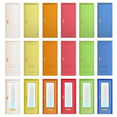 Big collection of colorful doors. Vector design. — Stock Vector