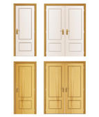 Set of wood door on isolated background. Vector design. — Stock Vector