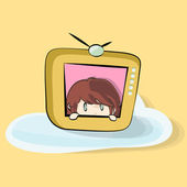 Girl inside TV on yellow background. Vector design. — Stock Vector