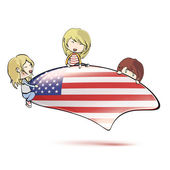 Kids holding american speech bubble on white isolated background — Stock Vector