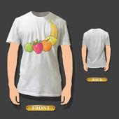 Fruits printed on white shirt. Vector design. — Stock Vector