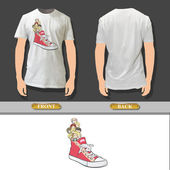 Red shoe with kids printed on white shirt. Vector design. — Stock Vector