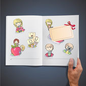 Set of kids in hole paper inside a book. Vector background design. — Stock Vector