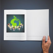 Many young friends around a icon of a planet inside a book. Vector design. — Stock Vector