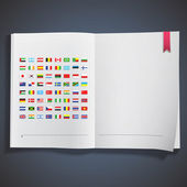 Collection of flags printed on white book. Vector design. — Stock Vector