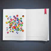 Collection of flag button printed on white book. Vector design. — Stock Vector