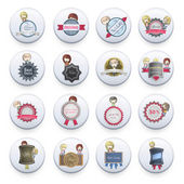 Set of badges inside a white button on isolated background. Vector design. — Stock Vector