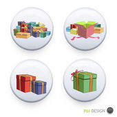 Many gift boxes printed on pin. — Stockvector