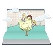 Kids holding tree on book. Vector design. — Stock Vector