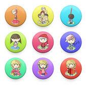 Kids printed on button web. Vector deign — Stock Vector