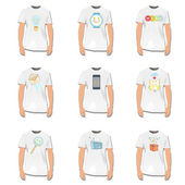 простая рубашка с милой иллюстрациями внутри. векторный дизайн. — Cтоковый вектор
