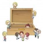 Kids around wood box — Stock Vector #29238153
