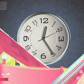 Nice design with watch on vintage background. Vector design. — Stock Vector