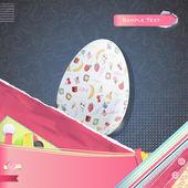 Nice design with easter egg with cute designs on vintage background. Vector design. — Vetor de Stock