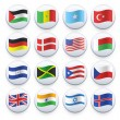 Set of flags printed on white button. Vector design. — Stockvektor