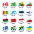 Set of flags printed on white button. Vector design. — Grafika wektorowa