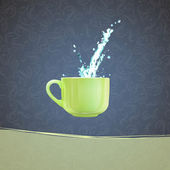 Coffee cup with water splashing over vintage background. Vector design — Stock Vector